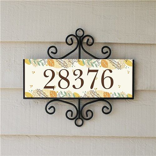Personalized Fall Leaves Address Sign