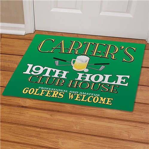 19th Hole Personalized Golf Doormat