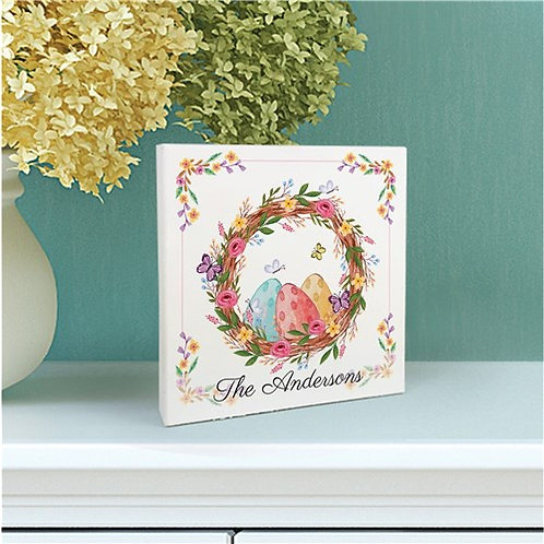 Personalized Easter Eggs With Wreath 6x6 Table Top Sign