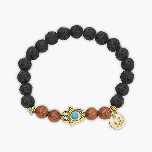 Custom Lava Stone Hamsa Charm Bracelet