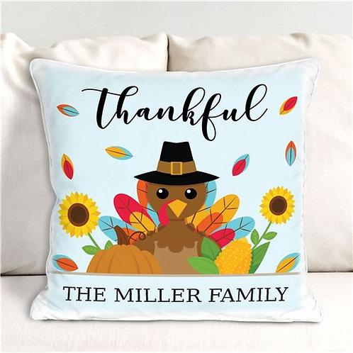 Personalized Thankful Turkey Throw Pillow