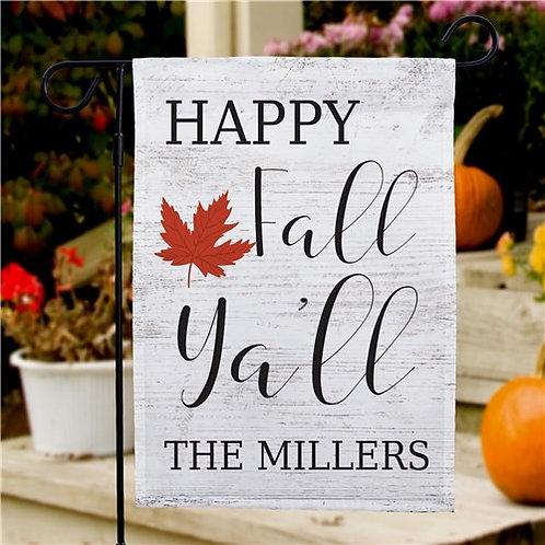 Personalized Happy Fall Y'all Garden Flag