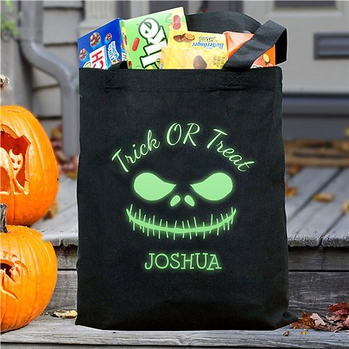 Glow In The Dark Trick Or Treat Scary Face Halloween Bag