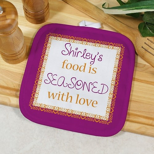 Personalized Seasoned With Love Pot Holder