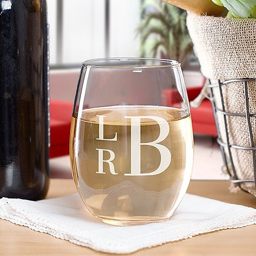Engraved Stacked Monogram Stemless Wine Glass