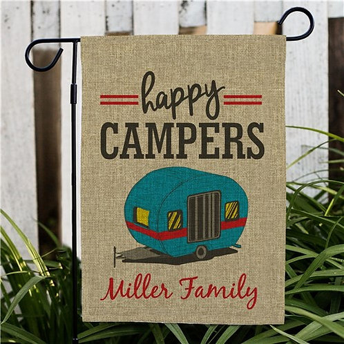 Personalized Happy Camper Family Burlap Garden Flag