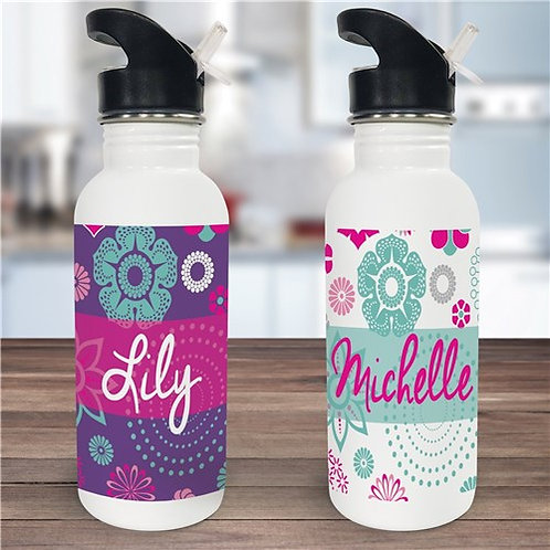 Personalized Floral Water Bottle