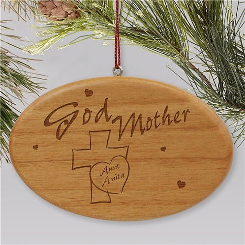 Engraved Godmother Wooden Oval Holiday Ornament