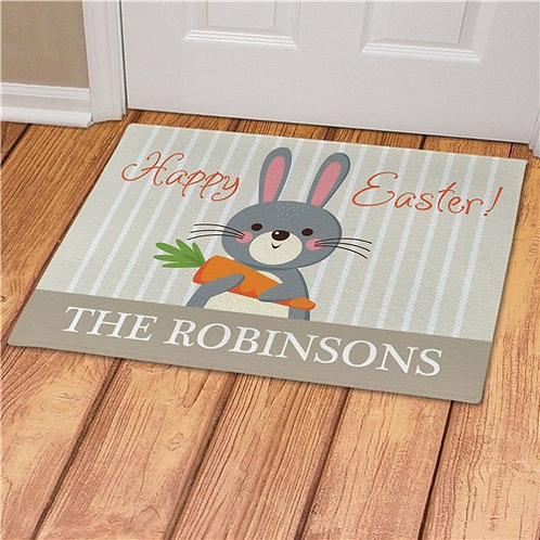 Personalized Bunny Holding Carrot Easter Doormat
