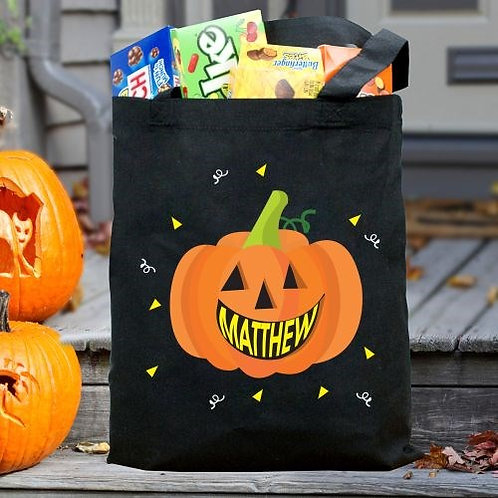 Personalized Smiling Pumpkin Trick or Treat Bag