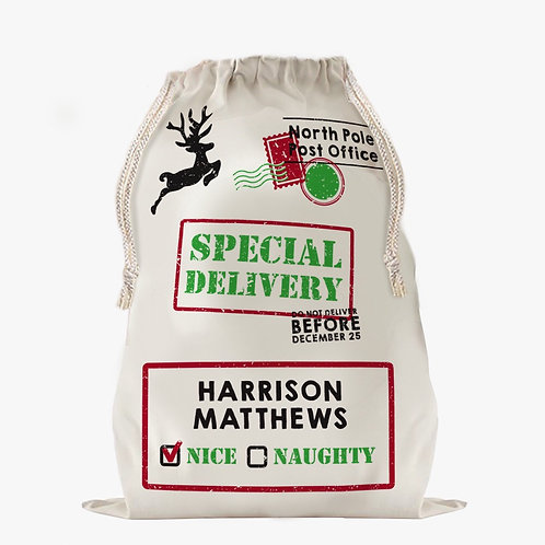 Custom Naughty or Nice Christmas Drawstring Sack   Personalized Santa Bag
