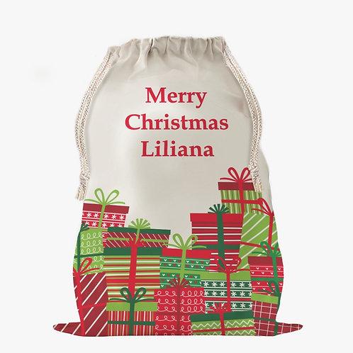 Custom Wrapped Christmas Gifts Drawstring Sack | Personalized Santa Bag