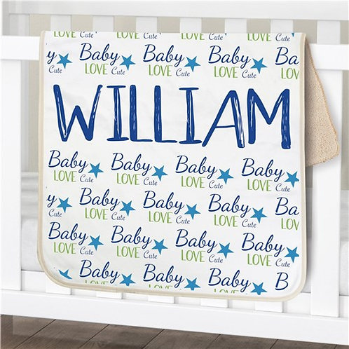 Personalized Baby Boy Words Sherpa Blanket