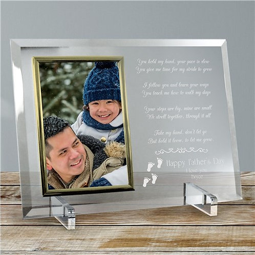 Following In Your Footsteps Personalized Fathers Day Beveled Glass Frame