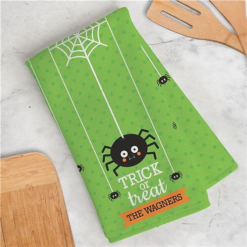 Personalized Trick or Treat Spider Dish Towel