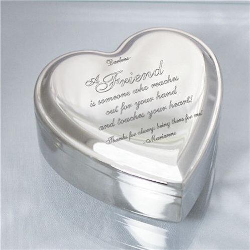 Engraved Friend Heart Jewelry Box