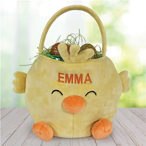Embroidered Chick Personalized Easter Basket