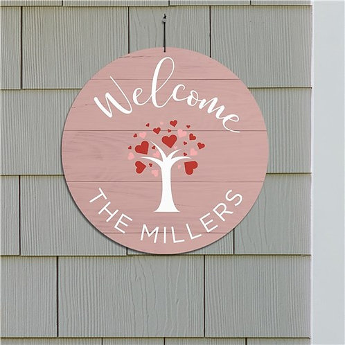 Personalized Welcome Hearts Tree Round Sign