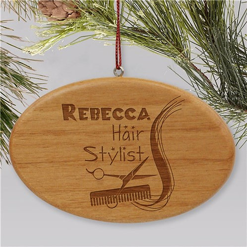 Engraved Hair Stylist Wooden Oval Christmas Ornament