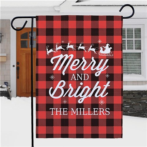 Personalized Merry And Bright Garden Flag