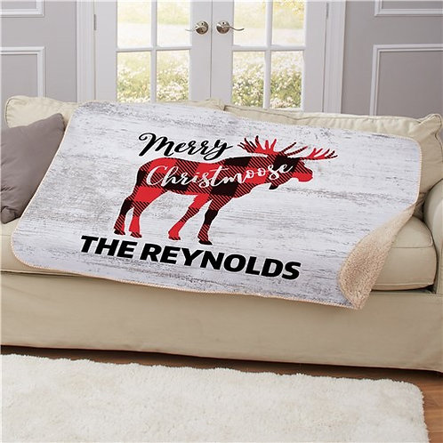 Personalized Merry Christmoose Sherpa Blanket
