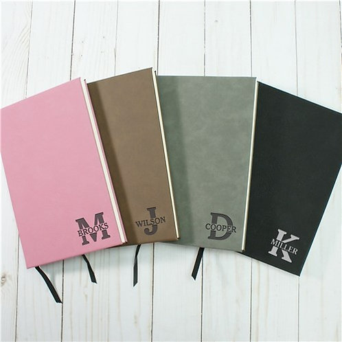 Personalized Monogram Initial And Name Leather Journal