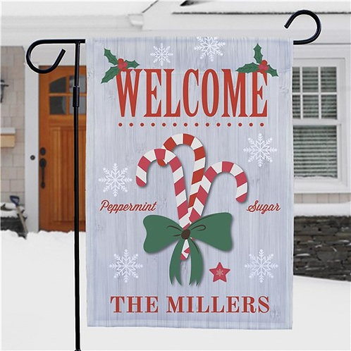 Personalized Welcome Candy Canes Garden Flag