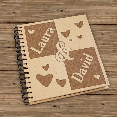 Engraved Couple's Wood Photo Album
