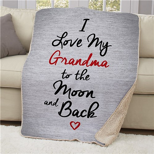 Personalized Love To The Moon And Back Sherpa Blanket