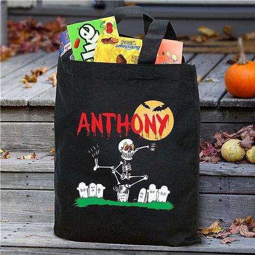 Personalized Dancin' Skeleton Trick or Treat Bag