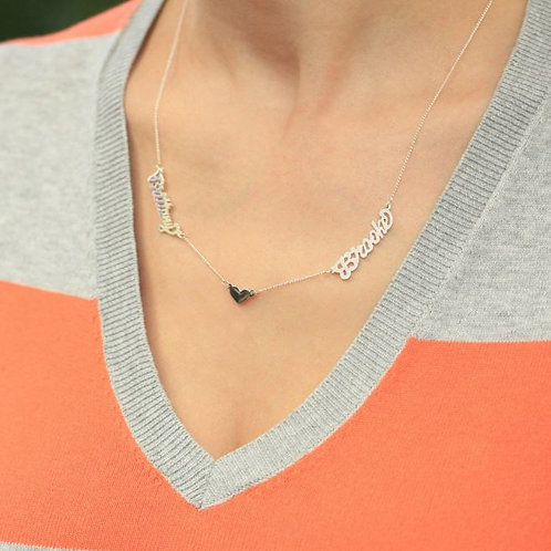 Sterling Silver Couples Name Necklace