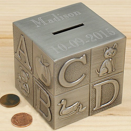 Engraved Baby Block Bank
