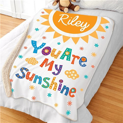 Personalized You Are My Sunshine Sherpa Blanket