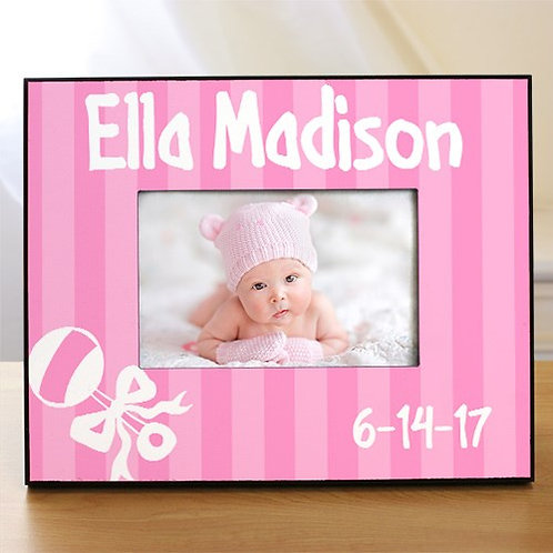 New Baby Girl Rattle and Bow Personalized Printed Frame