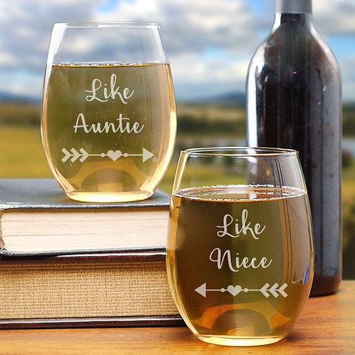 Engraved Her Stemless Wine Glass Set