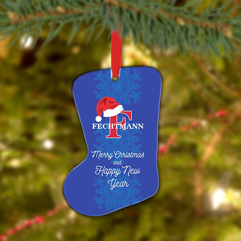 Merry Christmas & Happy New Year Custom Metal Stocking Ornament