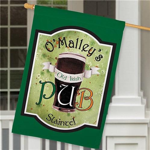 Personalized Old Irish Pub House Flag