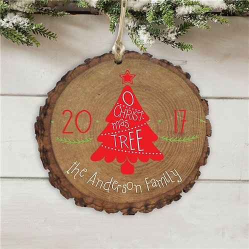 Personalized O Christmas Tree Wood Ornament