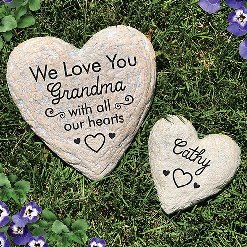 Engraved We Love You With All Of Our Hearts Heart Garden Stone