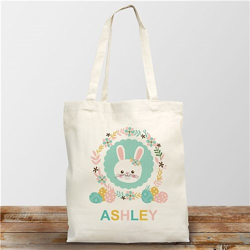 Personalized Easter Bunny Wreath Tote Bag