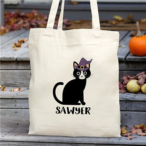 Personalized Halloween Cat Tote Bag