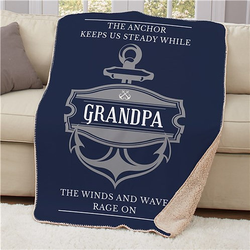 Personalized Anchor Sherpa Blanket