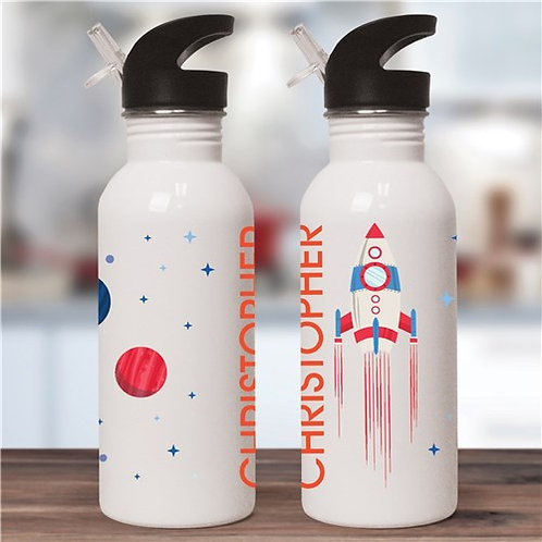 Personalized Rocket Ship With Planets Water Bottle