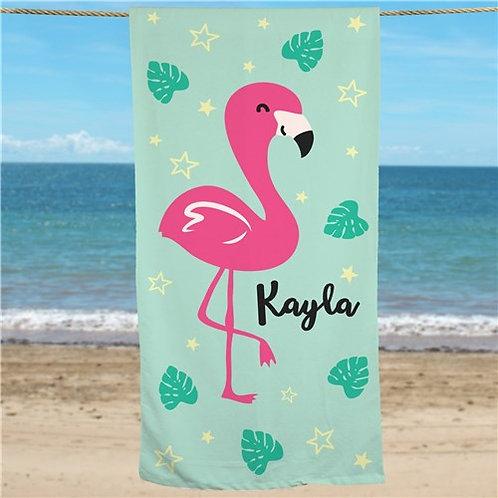 Personalized Flamingo Beach Towel
