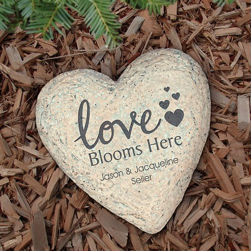 Engraved Love Blooms Here Garden Stone
