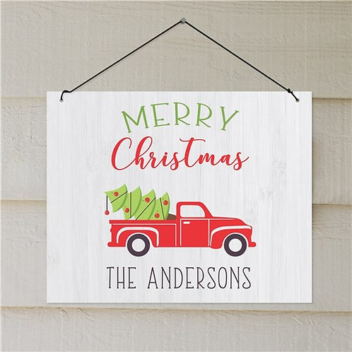 Personalized Merry Christmas Truck Wall Sign Decor