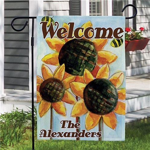 Personalized Sunflower Welcome Garden Flag