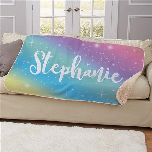 Personalized Rainbow Sherpa Blanket 50x60