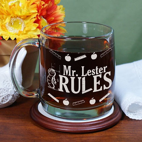 My Teacher Rules Engraved Glass Mug