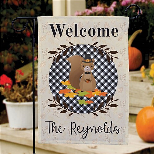 Personalized Welcome Squirrel Garden Flag